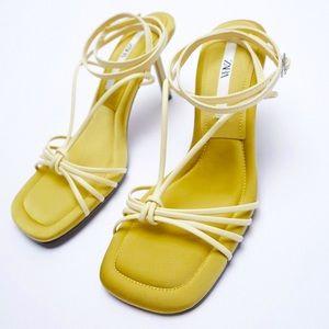 Zara yellow ankle Strap Square toe heel sandals